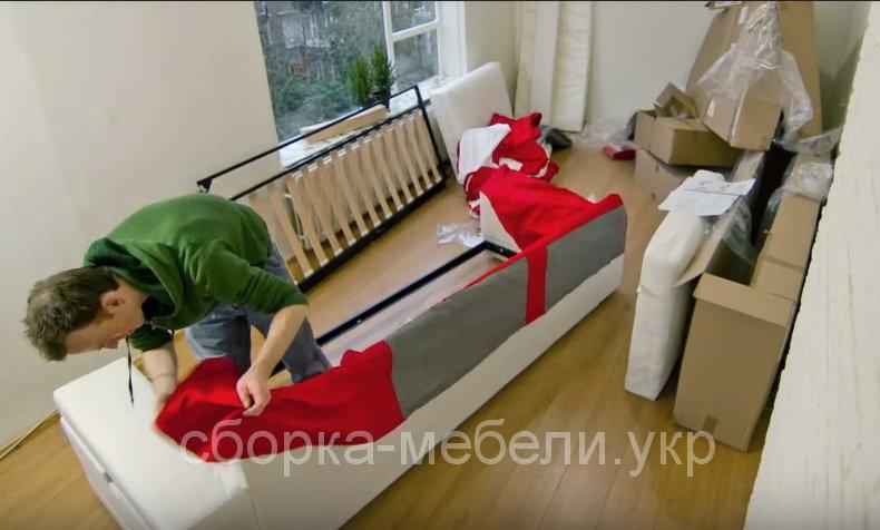 как собрать прямой диван
